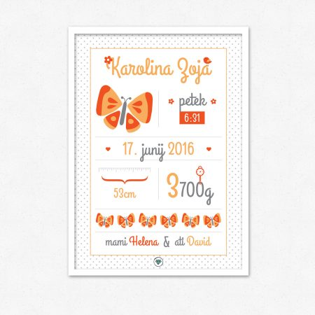 Personalizirana grafika ob rojstvu otroka | Oranžni metulj | #superšik by Satis Design
