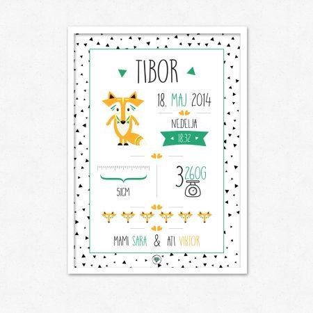 Personalizirana grafika ob rojstvu otroka | Zelena lisička lisička | #superšik by Satis Design