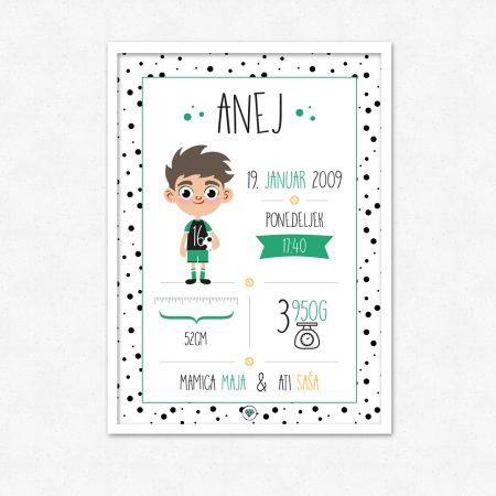 Personalizirana grafika ob rojstvu otroka | Nogometaš | #superšik by Satis Design