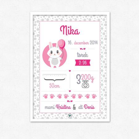 Personalizirana grafika ob rojstvu otroka | Roza pink zajček | #superšik by Satis Design