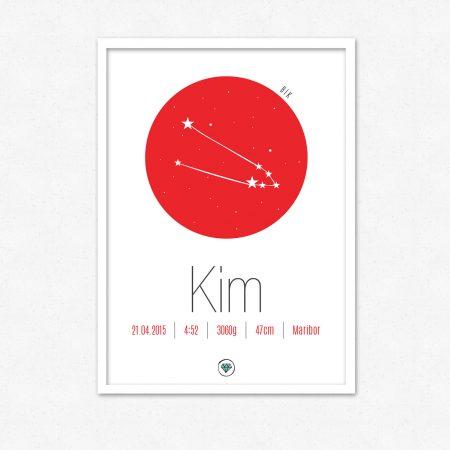 Personalizirana grafika ob rojstvu otroka | Horoskop znak BIK | #superšik by Satis Design
