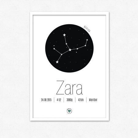 Personalizirana grafika ob rojstvu otroka | Horoskop znak DEVICA | #superšik by Satis Design