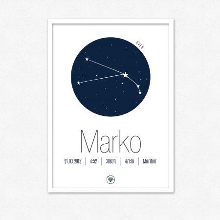 Personalizirana grafika ob rojstvu otroka | Horoskop znak OVEN | #superšik by Satis Design