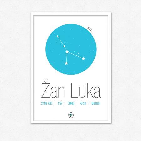 Personalizirana grafika ob rojstvu otroka | Horoskop znak RAK | #superšik by Satis Design