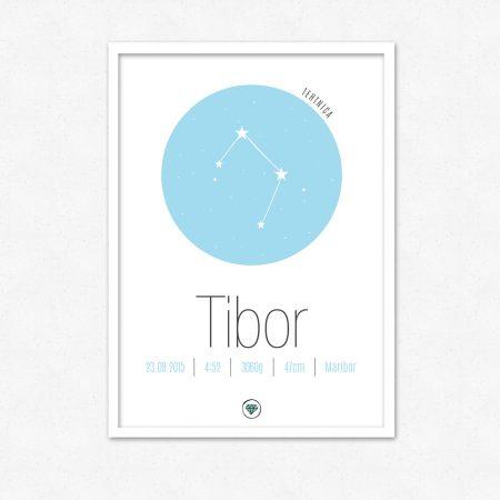 Personalizirana grafika ob rojstvu otroka | Horoskop znak TEHTNICA | #superšik by Satis Design
