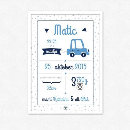 Personalizirana grafika ob rojstvu otroka | Moder avto | #superšik by Satis Design