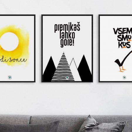 Superšik trojček pozitivčic, grafik z vsakdanjimi mislimi, v slovenskem jeziku, ki polepšajo dom.