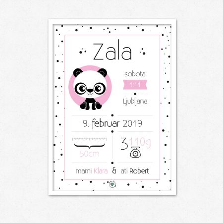 Personalizirana grafika ob rojstvu otroka | Panda | #superšik